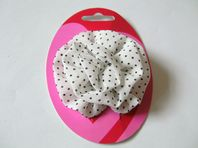 Fabric spotty flower on a fork clip  (Code 0069)